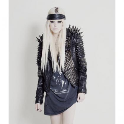 NEW WOMAN BLACK LONG SPIKED STUDDED..
