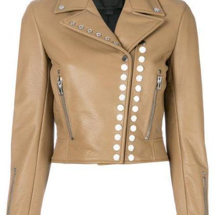 Women's Beige Color Genuine Leather..
