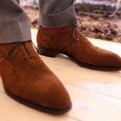 Handmade Men Brown Color Real Suede..