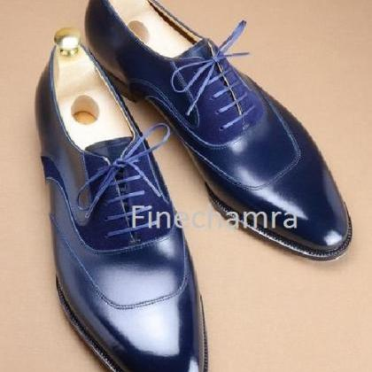 Handmade Men,s Blue leather Suede s..