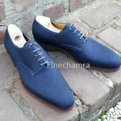 Men Pure Suede Lace Up Oxford Brogu..