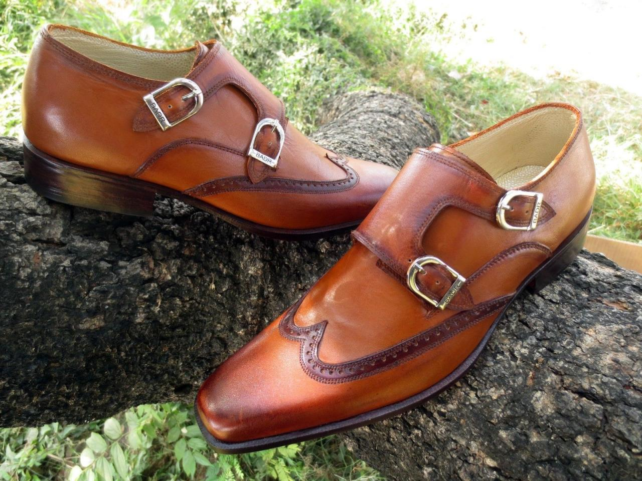 Handmade Men fashion style wingtip double monk dress shoes, Men formal shoe