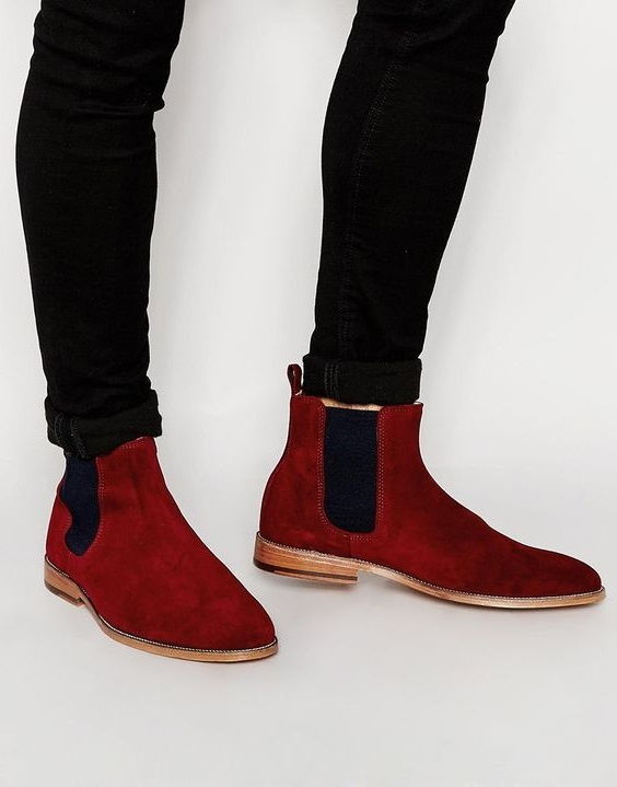 e66e8eea951 Handmade Red New Leather Boot Suede Chelsea Boots Men Ankle Leather Boot