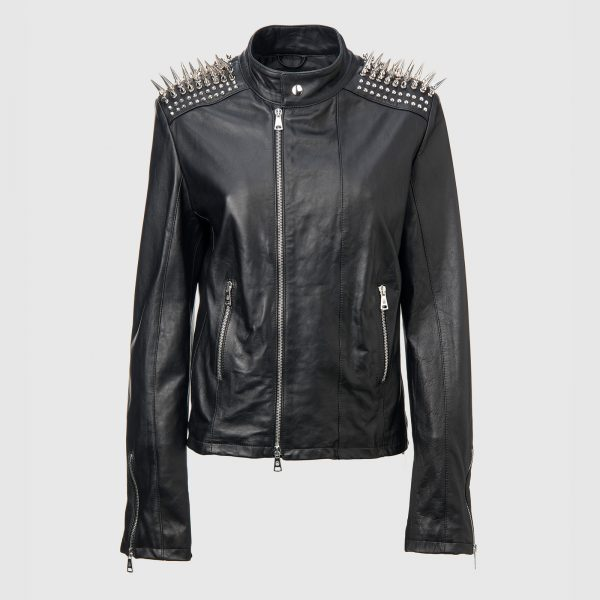 39d42e897b3 WOMAN PHILIP PLEIN STUDDED METAL SPIKE DECORATIONS ON SHOULDERS LEATHER  JACKET