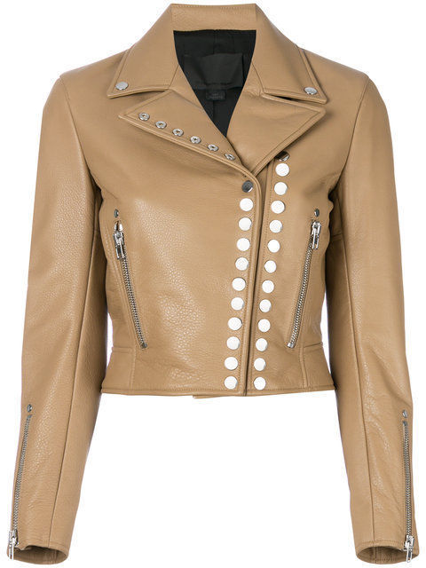 Women's Beige Color Genuine Leather Silver Studded Brando Zipper Sleeves Jacket