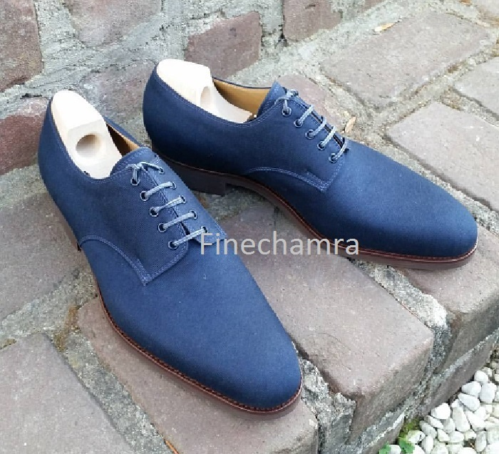 Men Pure Suede Lace Up Oxford Brogue Dress Fashion Shoe Men Handmade Blue Shoes
