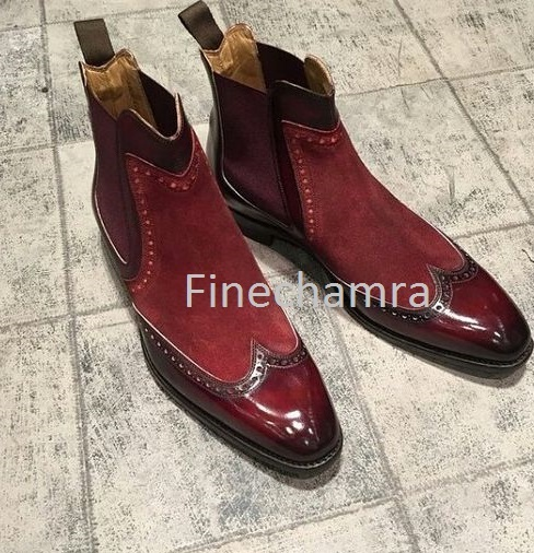 7674e059ff940f Men's High Ankle Maroon Chelsea Jumper Slip On Premium Leather Suede Boots