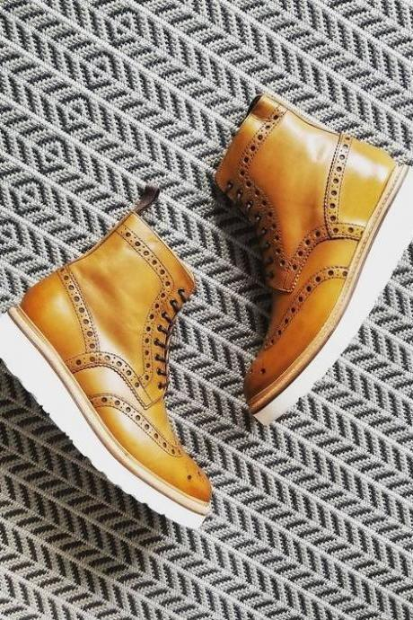 Custom Handmade Men Latest Oxford Brogue Style Leather Boots with Foam Midsole