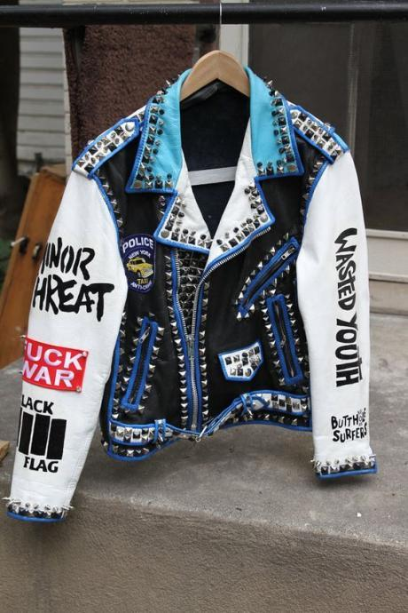 Vintage Leather Punk Rock Jackets With Studs and Spikes For Men MAde to order