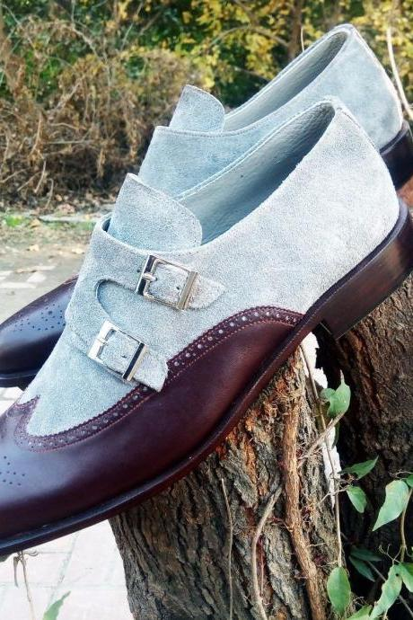 Handmade Two Tone Gray Brown Suede Leather Shoes Double Monk Formal Shoes Men's