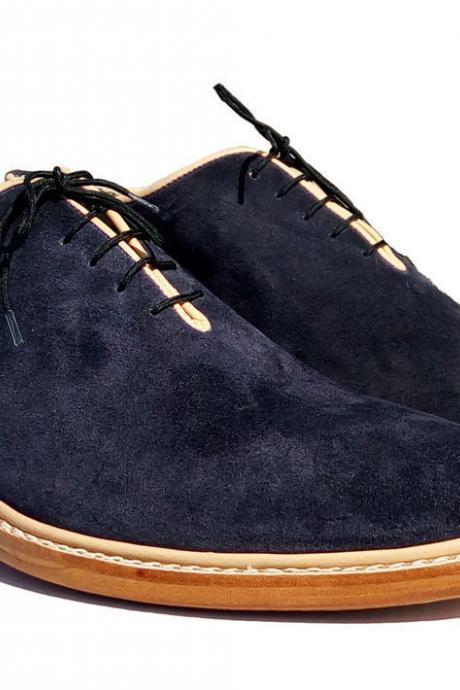 Handmade Navy Leather Shoes, Mens Formal Blue Party Fashion Shoes