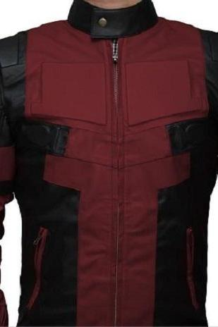 New Handmade Deadpool Leather Jacket in Maroon and Black Leather- Deadpool Movi
