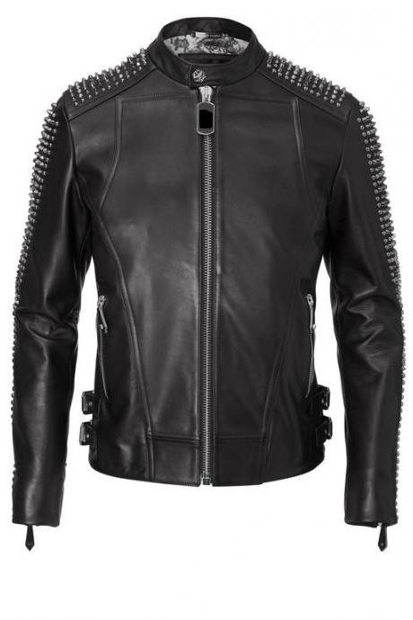 Mens Philipp Plein Full Black Handmade Studded On Sleeves Leather jacket