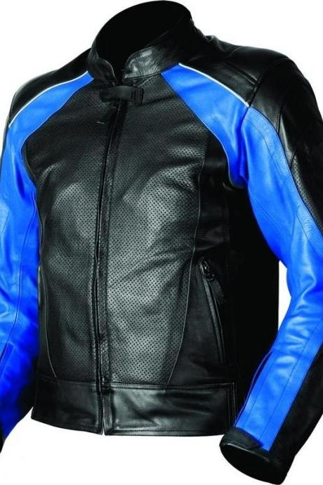 Men Perforated Motorcycle Leather Jacket Blue Black Biker Rider Protection Sizes