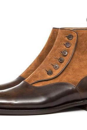 Handmade Two Tone Button Boots, Men Tan Suede And brown Leather Button Boot