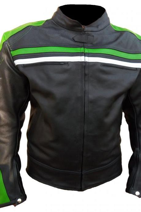 Black Biker Leather Jacket White Green Striped Motorbike Jacket All Size