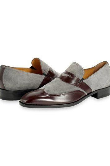 Handmade Men Two Tone formal shoes, Men Gray and brown shoes, Men dress shoes