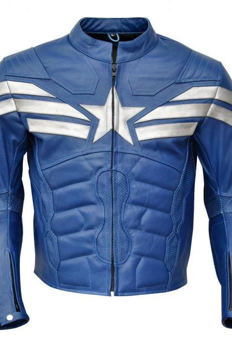 Men Motorcycle Leather Jacket Blue White Black Perforated Biker Rider Protection