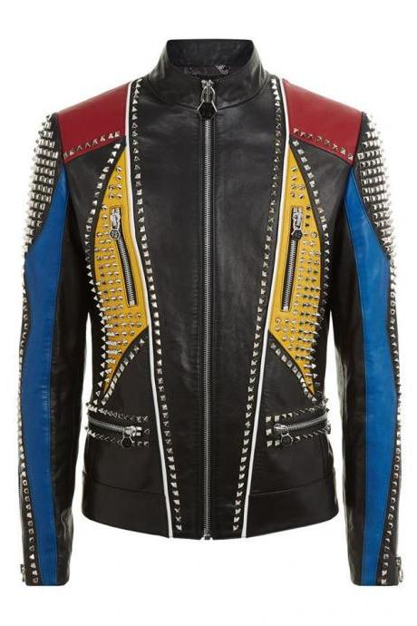 MenHandmade Multicolor Philipp Plein Full Studded Leather jacket