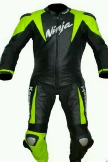 NEW KAWASAKI NINJA BLACK AND GREEN MOTOGP MOTORBIKE PC SUIT CE APPROVED PADS MEN
