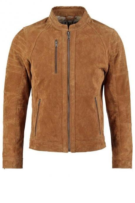 Mens Brown Suede Leather Jacket All Size Grade A Suede Leather