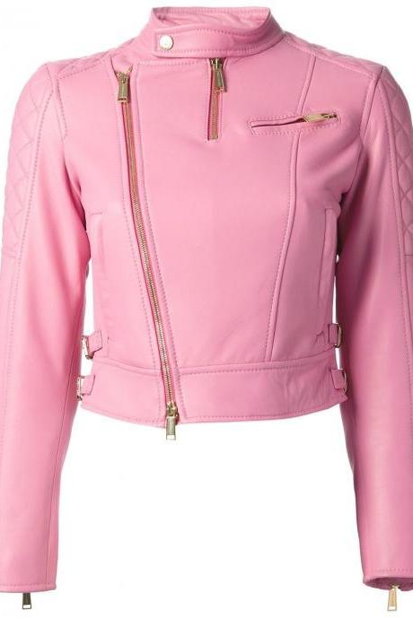 Pink Leather Jacket For Women Slim Fit Biker All Size Customized Fit