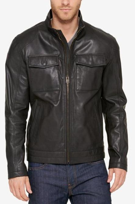 New Men Black Biker Jacket, Men Motorcycle Leather Jacket, Men Jackets