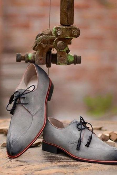 Handmade men gray suede shoe, men dress formal shoes, leather shoes for men