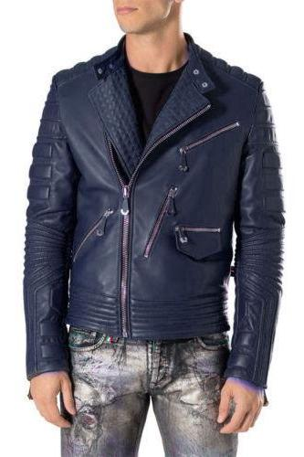 New Handmade Men Navy Blue Motorbike Leather Jacket, Classic Trendy Scooter Ride