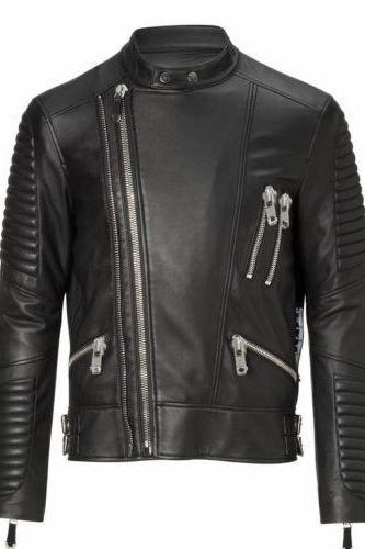 New Black Crose Leather Biker Leather Jacket, Men Fashion Highway Jacket For Men