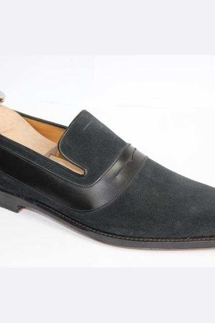 Handmade Men Black Suede Moccasins, Men Dark Gray Casual Formal Suede Shoes