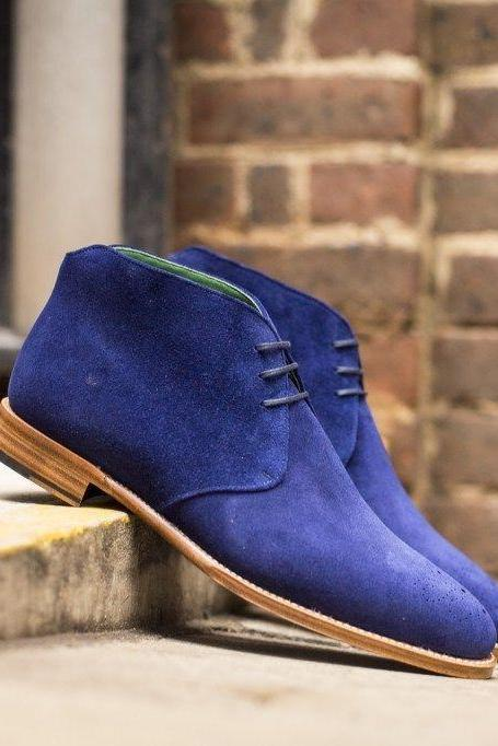 Handmade Men Royal blue Chukka boots, Men ankle boots, Men blue suede boots