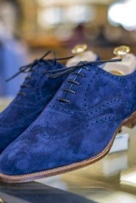 Handmade Mens Royal blue Suede shoes, Men wingtip royal blue color party shoes