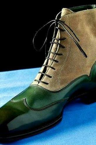 Handmade Cap Toe Boots, Ankle High Casual Green Beige Leather Boots, Men Boots