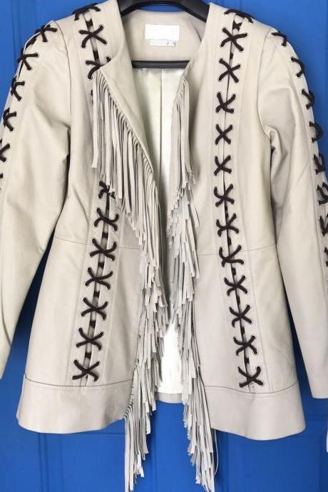 Matchless Women's Western Fringed Leather Jacket Coat In All Sizes New