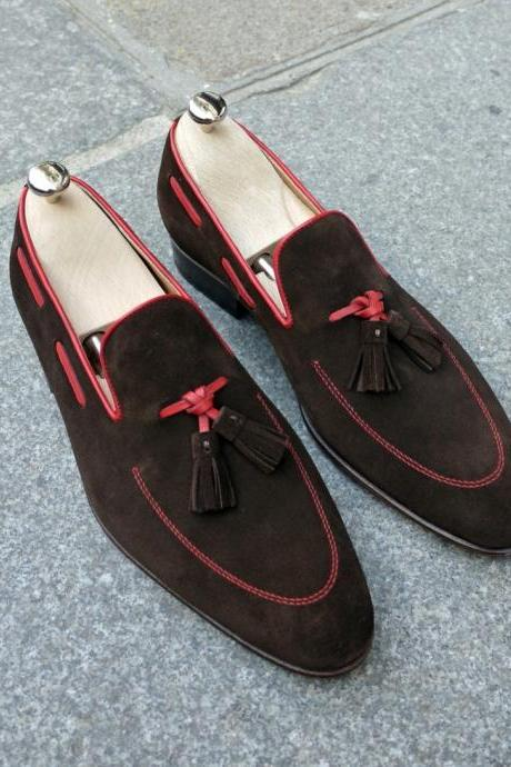 Handmade Men Tassel Suede Leather Shoes, Men Tassels Shoes, Men Fashion Loafers