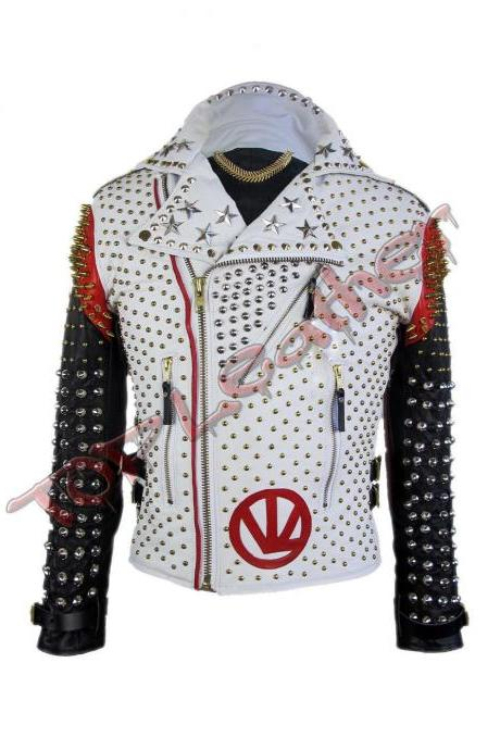 Mens Handmade Victor Luna White Black Studded Leather Jacket All Size