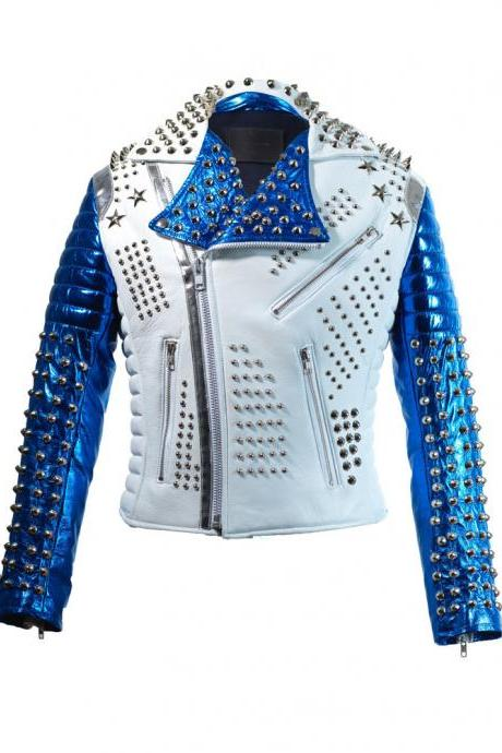 New Mens Victor Luna Dead Star Tech White Blue Studded Leather Jacket