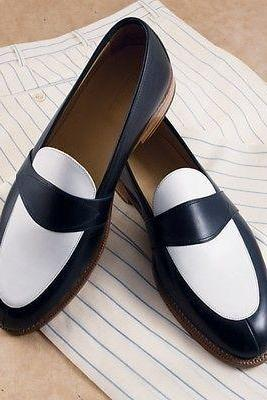 Handmade Men Navy blue and white leather shoes, Men slip ons Men Spectator shoes