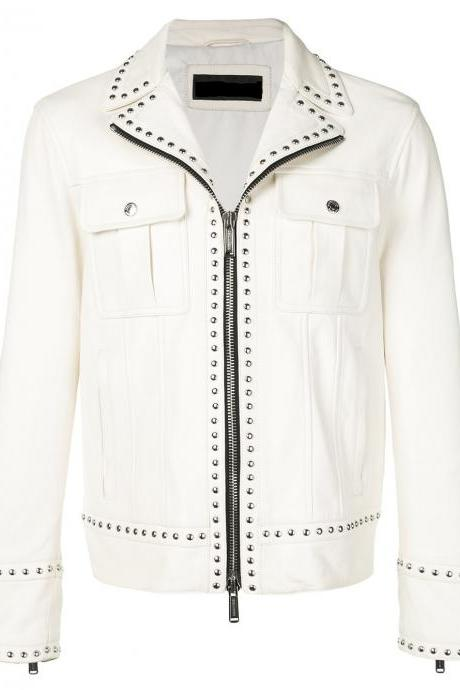 New Handmade Men Versace H&M,Silver Studded Biker White Leather Jacket