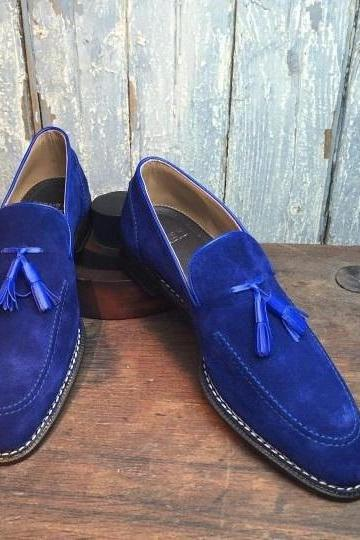 Men,s Handmade loafer shoes, royal blue suede shoe for men, men tassel dress sho