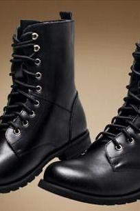 Handmade Men black Army boots, Men black military style Combat ankle boots