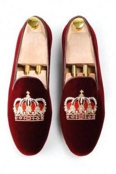 Hand Crafted Red Velvet Slippers Crown Embroidery Slippers Wedding Loaferv Shoe