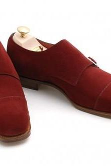 Handmade Men,s Burgundy Formal Monk Shoes, Men Dress Shoes, Men Suede Shoes