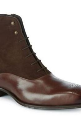 Handmade mens Brown Lace up ankle boots, Men Suede and leather ankle boots