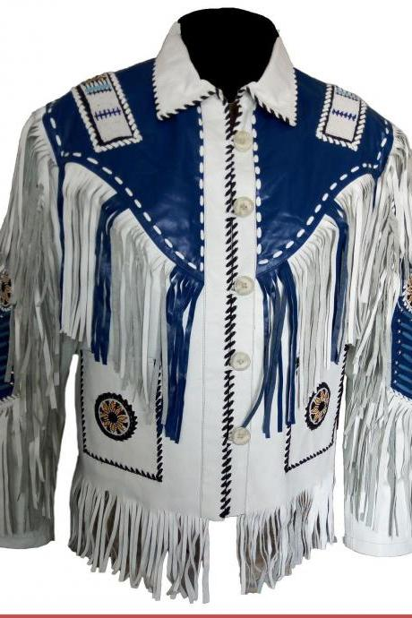 Fringe Jacket, jacket Men's Western White & Blue Beads/Fringe Cow Suede Jacket