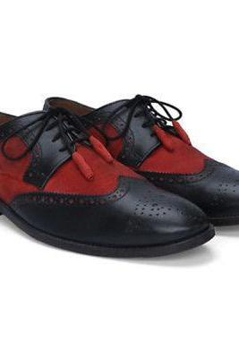 Handmade Black Red Black Suede Shoes, Oxford Leather Shoes, Dress Formal Shoes