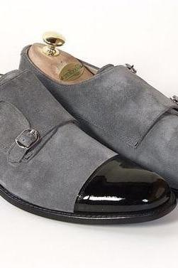 Handmade Black Leather Monk Shoes, Men Grey Double Monk Genuine Leather Shoes