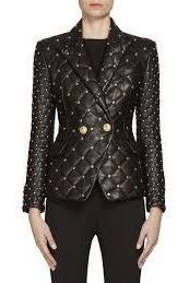 BALMAIN WOMEN GOLDEN STUDDED QUILTED COWHIDE LEATHER COAT XS TO 6XL