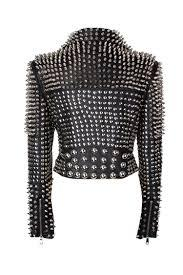 NEW WOMAN BLACK PUNK FULL SILVER STUDDED RIDING COWHIDE LEATHER JACKET ALL SIZES